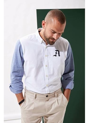 DeFacto Göğüs Armalı Regular Fit Gömlek Beyaz